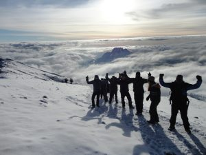 Hiking along Kilimanjaro's crater rim