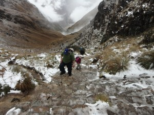 Making the final few steps to the top of dead women's pass