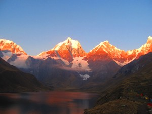 Sunset on the Huayuash circuit trek