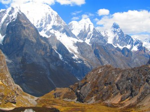 Great mountain view on the Huayhuash circuit trek