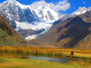 Glaciers, lakes and big mountains on the Huayhuash trek.