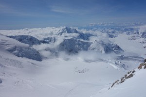 Looking down at Camp 3 from about 16200 feet on Denali