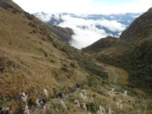 Coming down from the 2nd pass on the Inca trail