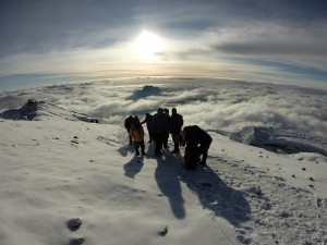 The final walk to the summit of Kilimanjaro
