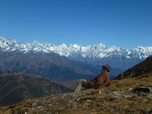 View of Everest from Pikey peak in Nepal