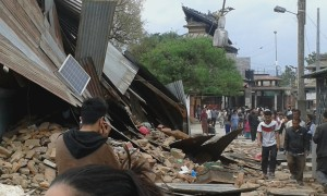 Block of building fall in Kathmandu