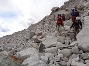 Crossing boulders into Everest base camp
