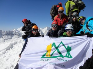 Ian Taylor Trekking team on the summit of Island peak 2015