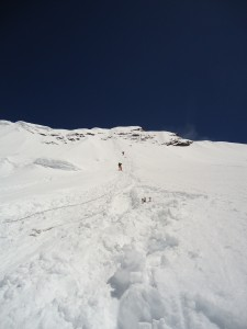 Deep snow at the base of the head wall