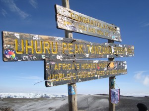 The sign on the top of Kilimanjaro