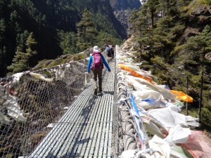 Bridge crossing on the Everest base camp trek