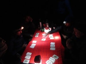Playing cards at Karanga camp on Kilimanjaro