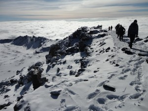 The crater rim on Kilimanjaro