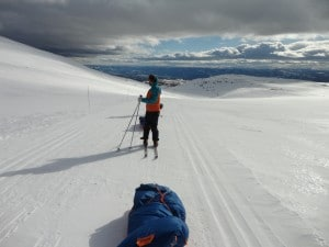 Pulling pulks in the Norwegian mountains.
