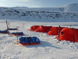 Our tents are set up on the Svlabard ice