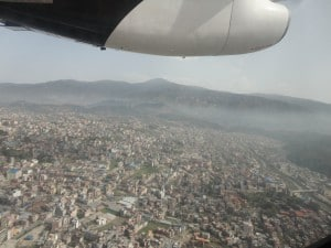 Flying in over Kathmandu