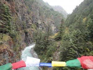 Crossing a bridge in the Everest region