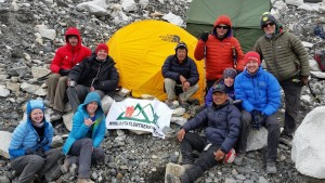Ian Taylor Trekking sleeping at Everest base camp