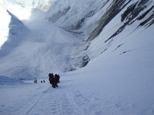 Climbing up the Lhotse Face