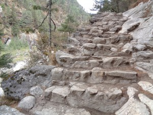 Rocky steps on the Everest base camp trek