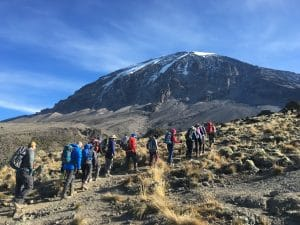 Moving as a team on Kilimanjaro