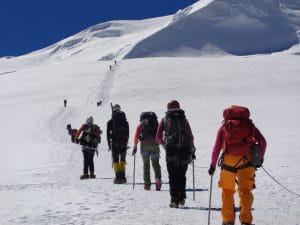 Mera peak team moving up to High camp