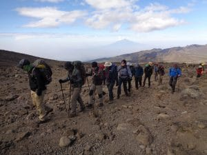 The team on route to the lava tower 4,600m