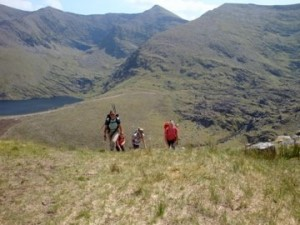 Hiking up the side of Carrauntoohill