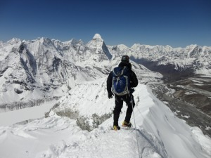The long journey back down Island peak