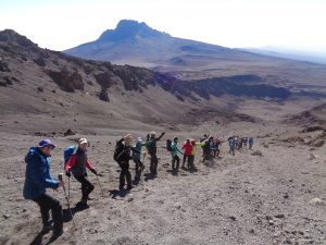 Hiking down from the summit of Kilimanjaro