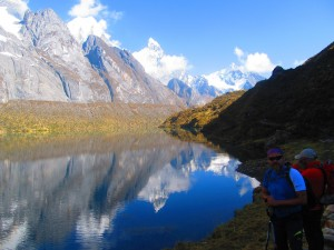 Mirror lakes on the Huayhuash Circuit Trek