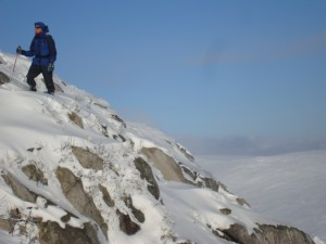 Hiking up Camaderry in snowy conditions