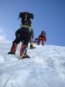 Moving up the Lhotse Face to Camp 4