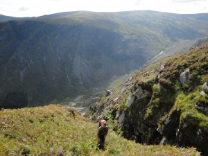 Hiking up Camaderry mountain