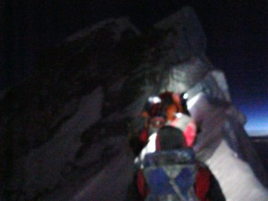 The knife edge ridge on Mount Everest.