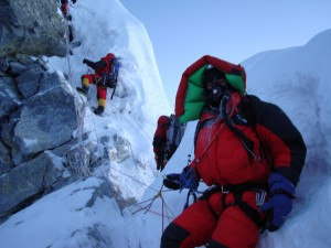 The base of the Hillary step on Everest