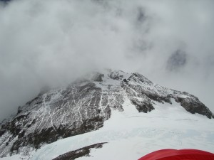Looking up from Camp 4 on Mount Everest.