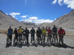 A group after cycling into Everest base camp