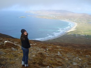 Enjoying the view of Achill Island and Keel beach.