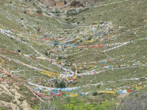 Prayer flags across a mountain side