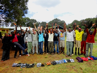 KIlimanjaro crew receiving new gear.