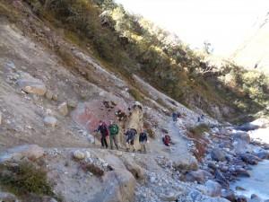 Landslide area on the Everest trail