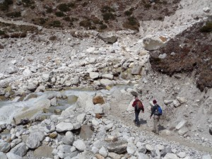 Small rock fall area near Thukla at 4,620m