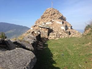 crumbled stupa in Goli village Nepal.