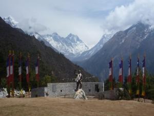Tenzing Norway memorial above Namche Bazaar on the Everest base camp trek.