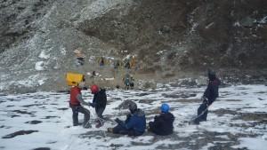Jumar and abseil training in Island peak base camp 2015