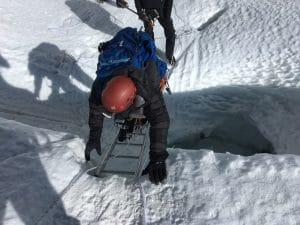 Ladder crossing on Island peak