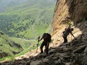 Steep trek up on the north side of Mt. Elbrus