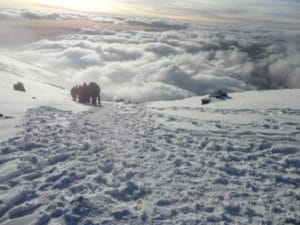 Walking through the snow from Stella Point to the Summit on Kilimanjaro