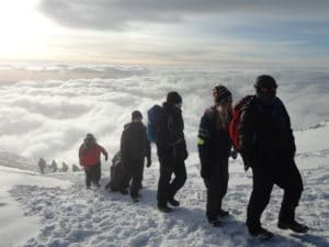 Walking towards the Summit of Kilimanjaro